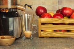 Juicer y zumo de manzana Preparación de los jugos frescos sanos Manzanas juicing caseras en la cocina Proceso de la fruta otoñal fotos de archivo libres de regalías