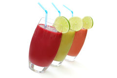 Juices. Selection of different refreshing fruit juices royalty free stock photography