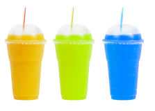 Juices. Isolated glasses of coloured softdrink stock images