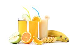 Juices of apple orange banana. Stock Photography
