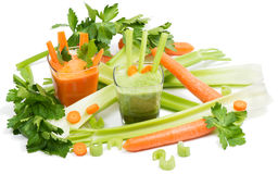Juices of celery and carrot Royalty Free Stock Photos