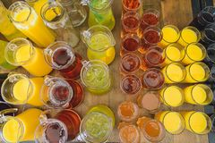 Juices and drinks in glasses. Horizontal frame stock photo