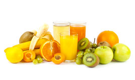 Juices and fruits. Collection from many fruits and jusices in glasses on white Stock Photos