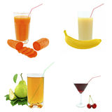 Juices from fruits and vegetables Stock Images