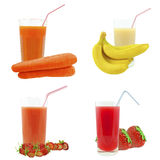 Juices from fruits and vegetables Stock Image