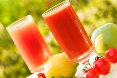 Juices made of fruit and vegetables Royalty Free Stock Images
