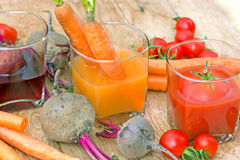 Juices from organic vegetables Royalty Free Stock Image