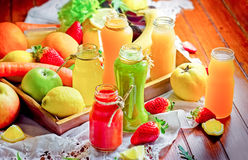Juices and smoothies - healthy drinks. Freshly prepared royalty free stock photo