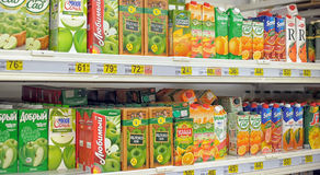 Juices on the supermarket shelf Stock Photos