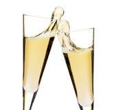 Juicht toe! Twee champagneglazen royalty-vrije stock foto's