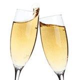 Juicht toe! Twee champagneglazen stock afbeeldingen