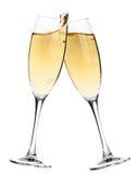 Juicht toe! Twee champagneglazen stock foto's
