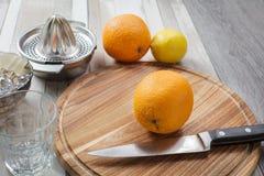 Juicing vers van de sinaasappelen en de citroen Stock Fotografie