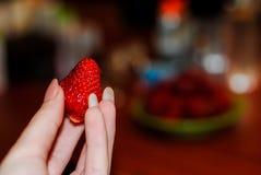 Juicy κόκκινες φράουλες στα θηλυκά χέρια στοκ εικόνες
