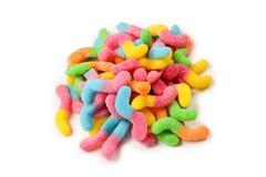 Juicy ζωηρόχρωμα γλυκά ζελατίνας που απομονώνονται στο λευκό Gummy καραμέλες Φίδια στοκ φωτογραφίες με δικαίωμα ελεύθερης χρήσης