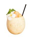 Juicy καταφερτζής πεπονιών για το υγιές και αναζωογονώντας ποτό Στην άσπρη πορεία υποβάθρου και ψαλιδίσματος Στοκ Εικόνες