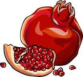 Juicy, κόκκινο ρόδι με τα σιτάρια Στοκ εικόνα με δικαίωμα ελεύθερης χρήσης