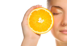 juicy πορτοκάλι κοριτσιών Στοκ Εικόνες