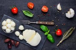 Juicy σφαίρες τυριών Mozarela Στοκ Εικόνες