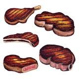 Juicy ψημένη στη σχάρα κρέας σχάρα μπριζόλας - σκίτσο Watercolor Στοκ φωτογραφίες με δικαίωμα ελεύθερης χρήσης