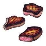 Juicy ψημένη στη σχάρα κρέας σχάρα μπριζόλας - σκίτσο Watercolor Στοκ Εικόνα