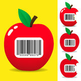 Juicy apple with bar code label Royalty Free Stock Photos