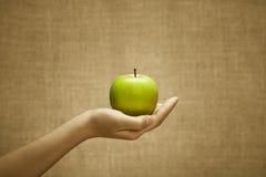 Juicy apple in female hand Stock Photos