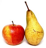 Juicy apple and pear on white background. Juicy apple and pear closeup on white background Stock Image