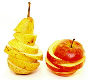 Juicy apple and pear on white background Royalty Free Stock Photography