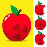 Juicy apple with radioactive symbol Royalty Free Stock Photo