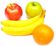 Juicy apples, banana and orange Royalty Free Stock Photography