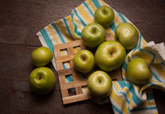 Juicy apples on dark background Royalty Free Stock Photos