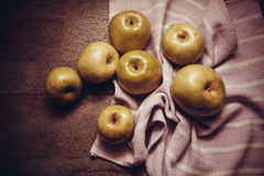 Juicy apples on dark background Royalty Free Stock Image