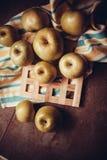Juicy apples on dark background Stock Image