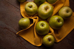 Juicy apples on dark background Royalty Free Stock Photo