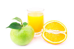 Juicy apples and oranges and fresh juice Stock Image