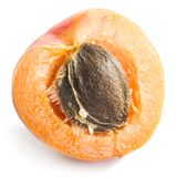 Juicy apricot`s cross-section on the white background. stock images