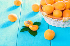 Juicy apricots on a turquoise background. Ripe juicy apricots in a basket on a wooden background Royalty Free Stock Photos