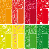Juicy banners set. Set of 8 colorful juicy banners Royalty Free Stock Photos