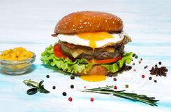 Juicy beef burger with egg, cheese, tomatoes and lettuce on a white plate. Side view stock photo