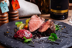 Juicy Beef rump steak from marble beef medium rare with spices a Royalty Free Stock Images
