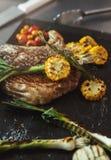 Juicy beef steak cooked at restaurant kitchen stock images