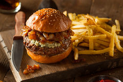 Juicy Blue Cheese Hamburger Royalty Free Stock Photography