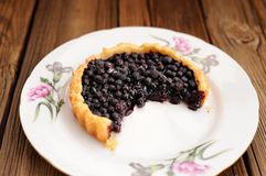 Juicy blueberry tart cut in white plate with pink carnation on w Royalty Free Stock Photos