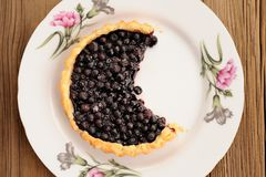 Juicy blueberry tart cut in white plate with pink carnation on w Royalty Free Stock Photography