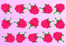 Crimson background.Gentle background on which juicy raspberries. stock illustration