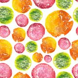 Juicy Bright Watercolor Circle Pattern Royalty Free Stock Photo