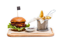 Juicy burger with fries. Juicy burger with french fries, isolated Royalty Free Stock Images