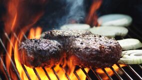 Free Juicy Burger Patties Flame Grill Summer BBQ. Stock Images - 175155674