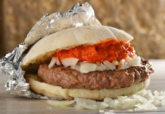 Juicy burger/take away. Stock Photography